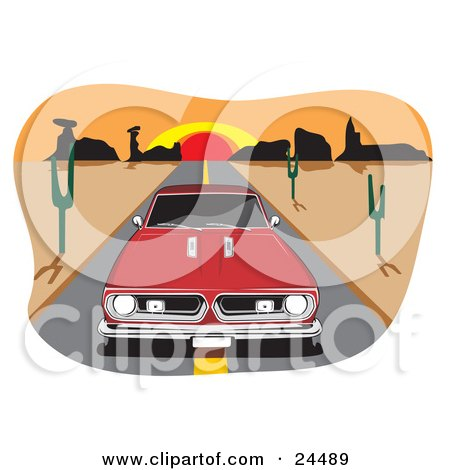 Clipart Illustration of a Red 1970 Barracuda Muscle Car Driving In The Center Of A Desert Road, A Sunset In The Background by David Rey
