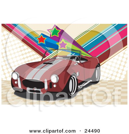 Clipart Illustration of a Red 1960 Ac Shelby Cobra Car With A Convertible Top And Silver Racing Stripes, Over A Checkered And Rainbow Star Background by David Rey