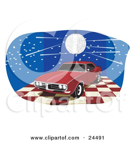Clipart Illustration of a Red 1968 Pontiac Firebird With Dark Tinted Windows, On A Red And White Checkered Floor Under A Disco Ball In A Blue Room by David Rey