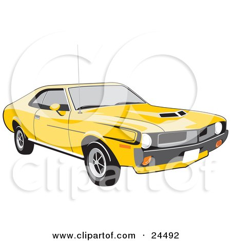 Clipart Illustration of a Bright Yellow 1970 Amc Javelin Muscle Car With Hood Scoops, Tinted Windows And Black Decals On The Side by David Rey