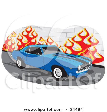 Clipart Illustration of a Blue 1970 Chevrolet Camaro Muscle Car With Black Racing Stripes And Tinted Windows, Parked By A Wall With Flames by David Rey