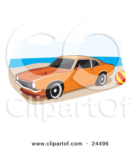 Clipart Illustration of an Orange 1972 Ford Maverick Muscle Car With Whitewall Tires And Dark Tinted Windows, Parked By A Ball On A Sandy Beach by David Rey