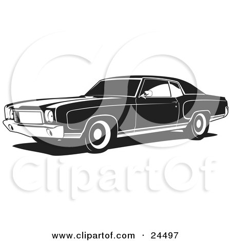 Clipart Illustration of a 1970 Chevy Monte Carlo Muscle Car With White Wall Tires by David Rey
