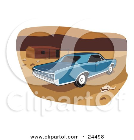 Clipart Illustration of a Blue 1966 Pontiac Gto Muscle Car Parked By A Deserted House And A Skull In A Desert Landscape by David Rey