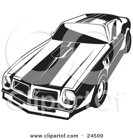 Clipart Illustration of a 1977 Pontiac Trans Am With Racing Stripes And A Hood Scoop by David Rey