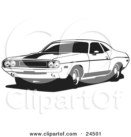 Clipart Illustration Of A Light Blue 1970 Dodge Challenger