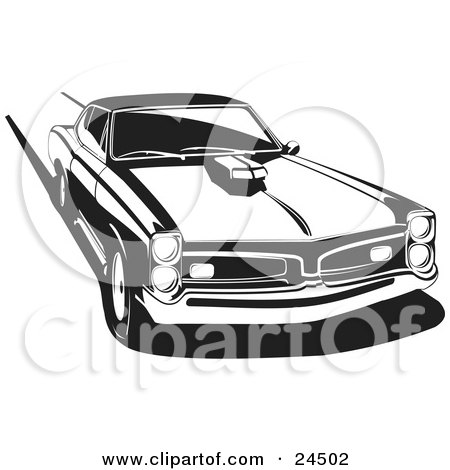 Clipart Illustration of a 1966 Pontiac Gto Muscle Car With A Hood Scoop, Burning Rubber And Leaving Tire Marks, Black And White by David Rey