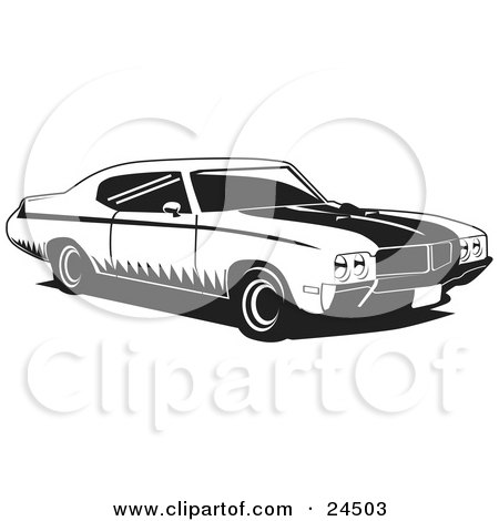 Clipart Illustration of a 1970 Muscle Car Made By Buick, With Racing Stripes by David Rey