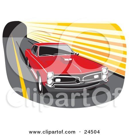 Clipart Illustration of a Red 1966 Pontiac Gto Muscle Car With A Hood Scoop And Dark Tinted Windows, Peeling Out And Leaving Marks On A Road by David Rey