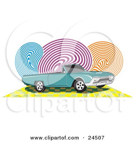 Clipart Illustration of a Teal Ford Thunderbird Car With Black Tinted Windows And A Convertible Top, Over A Checkered Yellow Surface With Blue, Purple And Orange Swirls In The Background by David Rey