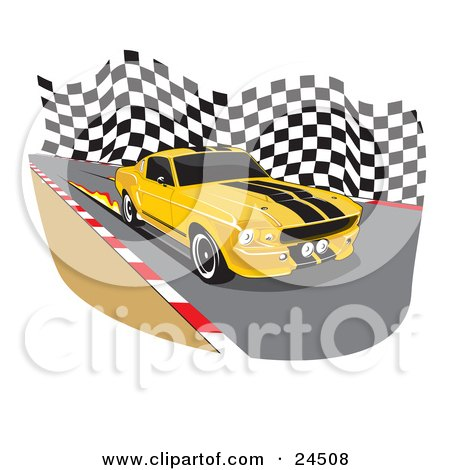 Clipart Illustration of a Yellow 1967 Ford Mustang Gt500 Muscle Car With Black Racing Stipes And Tinted Windows, Burning Flames On The Road While Racing by David Rey