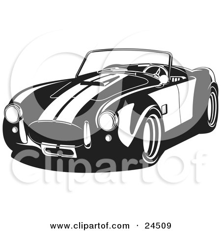 Clipart Illustration of a Convertible 1960 Ac Shelby Cobra Car With Racing Stripes, Black And White by David Rey