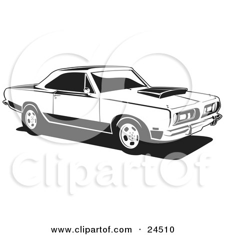Clipart Illustration of a Parked 1968 Barracuda, A Muscle Car By Plymouth, In Black And White by David Rey