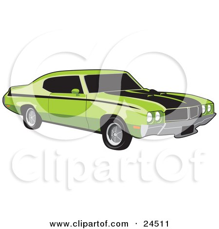 Clipart Illustration of a Green 1970 Buick Muscle Car With Black Racing Stripes And Side Decals And Dark Tinted Windows by David Rey
