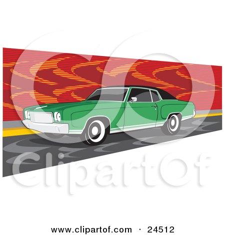 Clipart Illustration of a Green 1970 Chevrolet Monte Carlo Muscle Car With White Wall Tires And Dark Tinted Windows, Parked By A Red Wall by David Rey