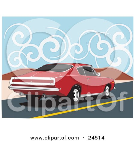 Clipart Illustration of a Red 1970 Plymouth Barracuda Muscle Car Speeding Down A Dessert Road Under A Sky With Swirly Clouds by David Rey