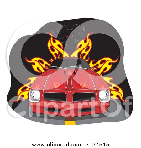 Clipart Illustration of a Red 1977 Pontiac Trans Am Firebird With Flames Painted On The Hood And Dark Tinted Windows, On A Road In Front Of A Devil And Fire by David Rey