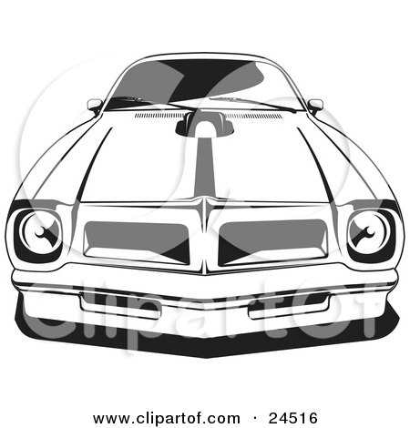 Clipart Illustration of a 1976 Or 1977 Trans Am Made By Pontiac, As Seen From The Front by David Rey