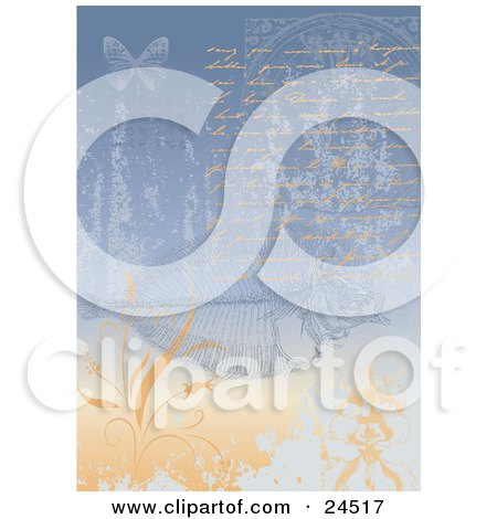 Clipart Picture of a Love Letter Written In Orange With A Faded Blue And Orange Background With Flowers, Plants, Fish Fossils And Butterflies by Eugene