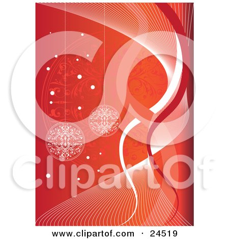 Clipart Picture of a Delicate White Snowflake Christmas Baubles Hanging Over A Gradient Orange And Red Background With Spirals And Snowflakes by Eugene