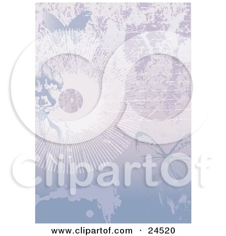 Clipart Picture of a Faded Love Letter Written On A Page With Flowers, Sunbursts And Butterflies by Eugene