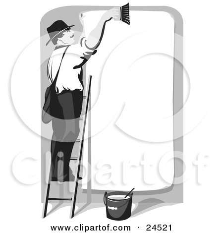 Clipart Picture of a Man Smiling And Standing On A Ladder, Cleaning Off A Blank Billboard, Preparing For The Next Advertisement by Eugene