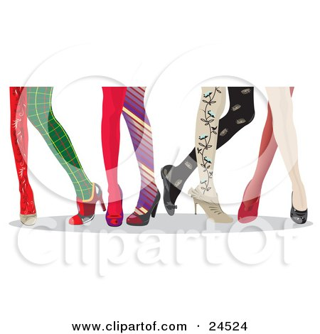 Clipart Illustration of Lady's Legs With Fashionable And Colorful Stockings And High Heels by Eugene