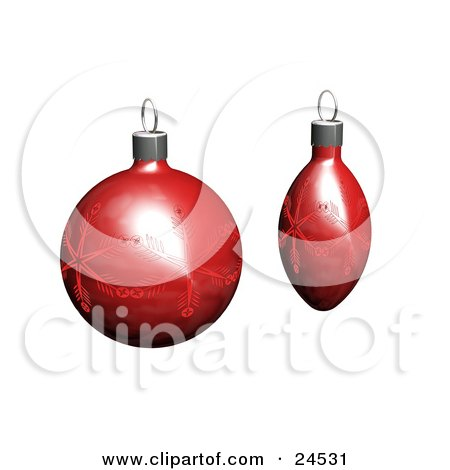 Clipart Illustration of Two Red Christmas Tree Ornaments With Snowflake Patterns, Over White by KJ Pargeter
