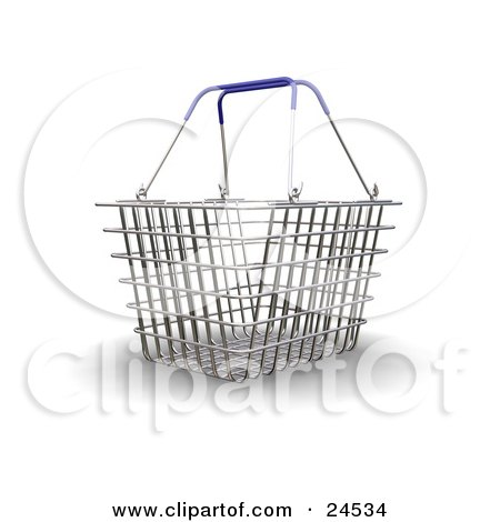 Clipart Illustration of a Wire Shopping Basket With Blue Handles, Over A White Surface by KJ Pargeter