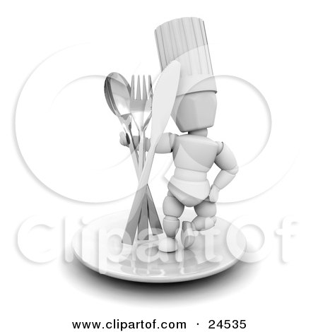 Clipart Illustration of a White Character In A Chef's Hat, Standing On A Plate With A Spoon, Fork And Butter Knife by KJ Pargeter