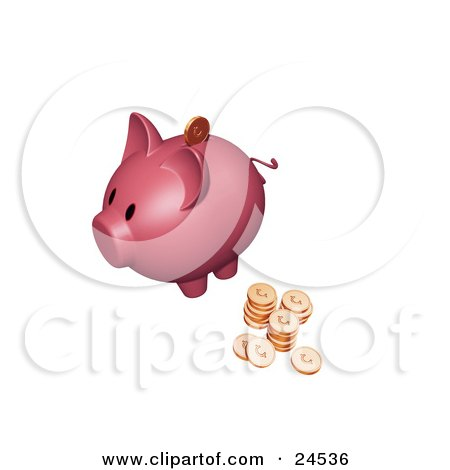 Clipart Illustration of a Pink Piggy Bank With Stacks Of Cents, One Coin Going Into The Slot by KJ Pargeter