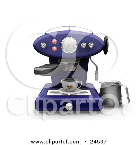 Clipart Illustration of a Blue Cappuccino Maker Machine With On A Kitchen Counter, Pouring Coffee Into A Cup by KJ Pargeter
