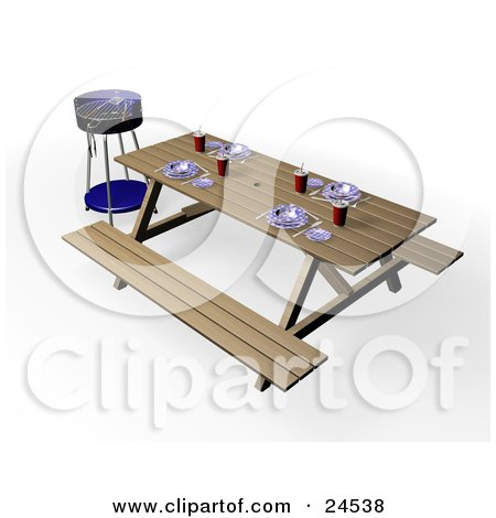 Clipart Illustration of a Blue BBQ Grill By A Picnic Table, Set With Eating Utensils, Cups And Plates by KJ Pargeter