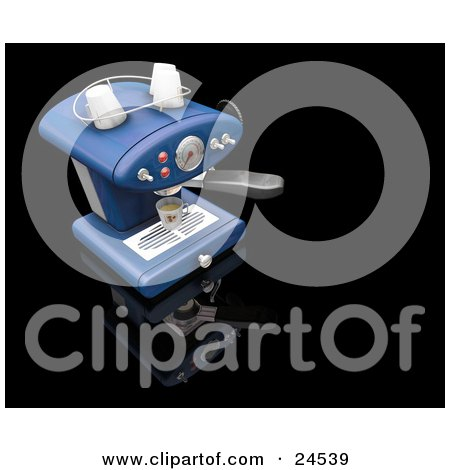 Clipart Illustration of a Light Blue Espresso Maker Machine Pouring A Cup Of Coffee, On A Black Kitchen Counter by KJ Pargeter