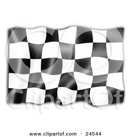 Clipart Illustration of a Black And White Auto Racing Checkered Flag, Symbolizing The End Of A Race, Rippling In The Breeze by KJ Pargeter