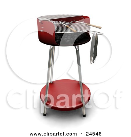 Clipart Illustration of a Wood Handled Utensils On A Red BBQ Grill by KJ Pargeter