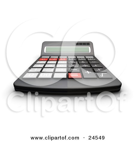 Clipart Illustration of a Black Calculator With Gray, Black And Red Buttons And A Curved Display For Easy Viewing by KJ Pargeter