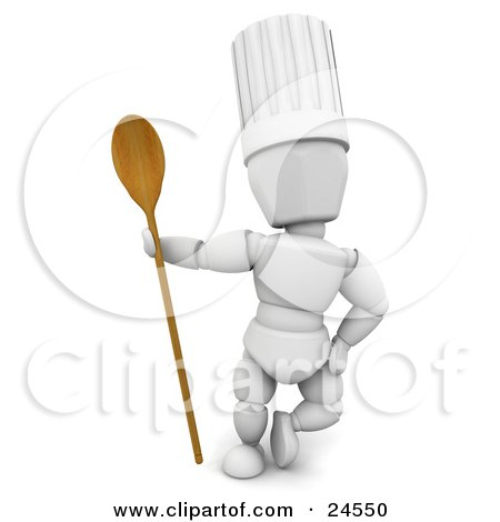 Clipart Illustration of a White Character In A Chef's Hat, Standing With A Wooden Spoon by KJ Pargeter