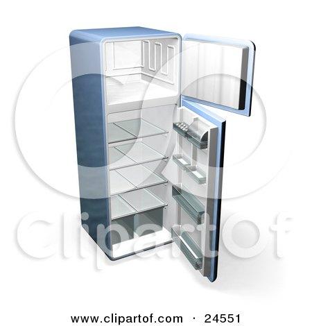 Empty Fridge Freezer Showing an Empty Freezer