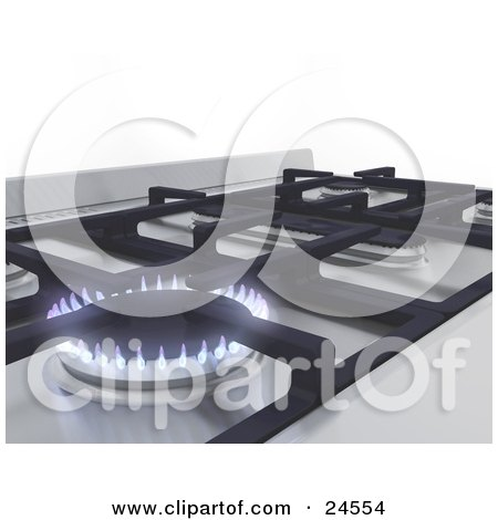 Clipart Illustration of a Blue And Purple Flames On A Gas Stove Burner by KJ Pargeter
