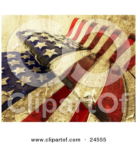 Clipart Illustration of a Textured American Flag Rippling, With The Stars And Stripes by KJ Pargeter