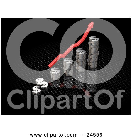 Clipart Illustration of a Red Increase Arrow Above A Bar Graph Made Of Chrome Dolalr Signs, Over Black by KJ Pargeter