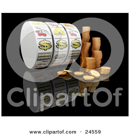 Clipart Illustration of Stacks Of Golden Coins By Three Dollar Signs On A Casino Jackpot Winner Fruit Machine Reel Over A Reflective Black Background by KJ Pargeter