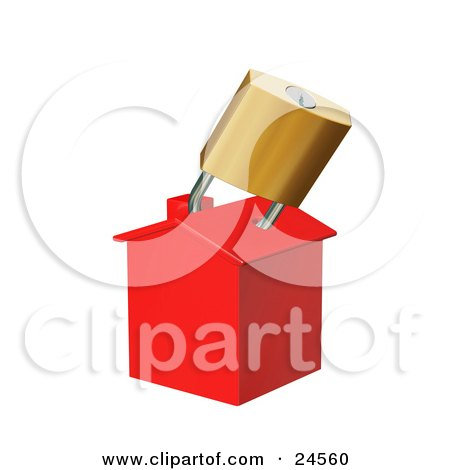Clipart Illustration of a Red Home Locked With A Golden Padlock, Symbolizing Foreclosure by KJ Pargeter
