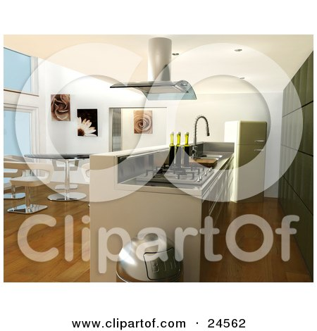 Clipart Illustration of a Modern Kitchen Interior With A Fan Over A Gas Oven, Bar Counter, Chrome Trash Can, Modern Table And Chairs In The Dining Room And A Green Fridge And Cabinets by KJ Pargeter