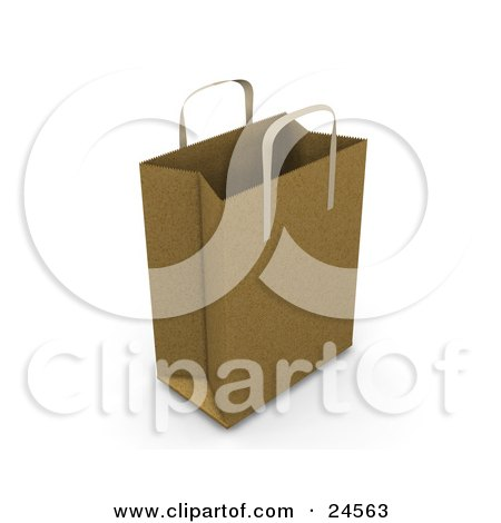 Clipart Illustration of a Brown Paper Bag With Handles, Empty And Expanded, Ready For Bagging by KJ Pargeter