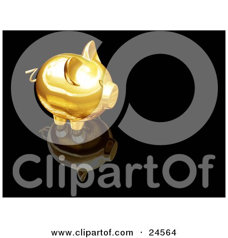Clipart Illustration of a Golden Piggy Bank On Top Of A Reflective Black Surface by KJ Pargeter