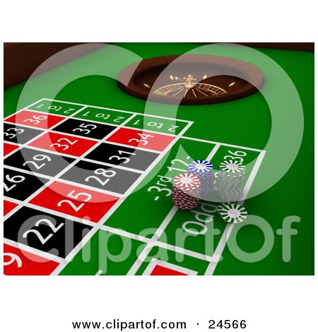 Clipart Illustration of Stacks Of Red, Blue And Green Poker Chips On A Green Roulette Table, Near The Wheel by KJ Pargeter