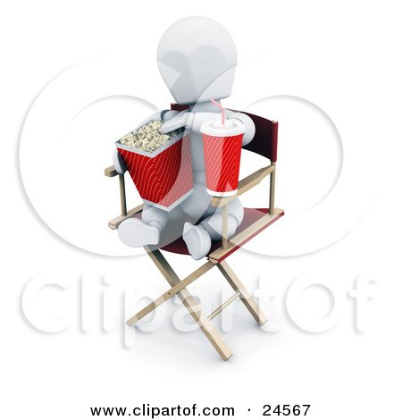 Clipart Illustration of a White Character With A Soda, Sitting In A Directors Chair And Eating Movie Popcorn by KJ Pargeter