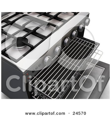 Clipart Illustration of Burners Of A Professional Gas Oven With The Door Open And Baking Trays Pulled Out by KJ Pargeter